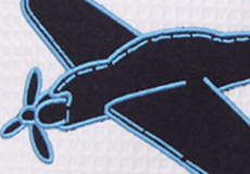 Knuffelkussen Vliegtuig applicatie