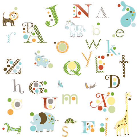 Muurstickers Animals and Alphabet