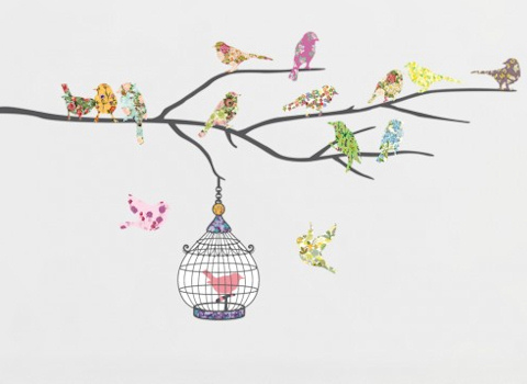 Muursticker birds on a branch