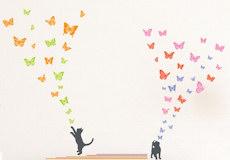 Muurstickers Kittens love butterflies sfeer 1