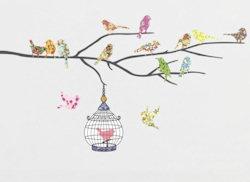 muurstickers birds on a branch