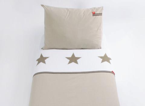 Junior dekbedovertrek Stars pure beige