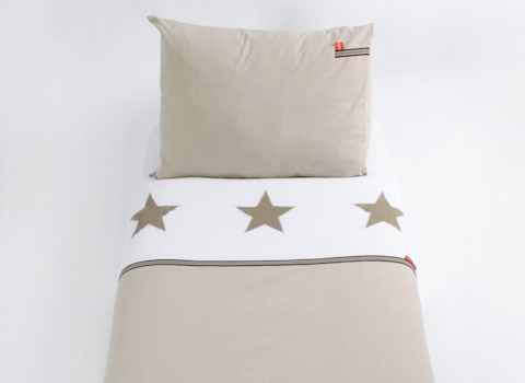 Kinderdekbedovertrek Stars pure beige