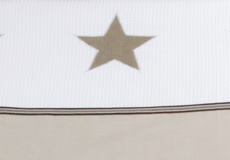 Kinderdekbedovertrek Stars pure beige applicatie