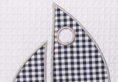 Knuffelkussen Sailboat blue applicatie