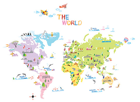 Wereld muurstickers