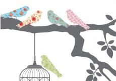 Muurstickers Birds on a tree detail